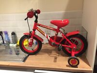 Kid's bike - first size (from 2/3 yo). Unisex with stabilisers