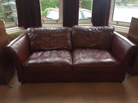 DFS Chestnut Brown Leather Sofa Bed And Chair *New Lower Price*