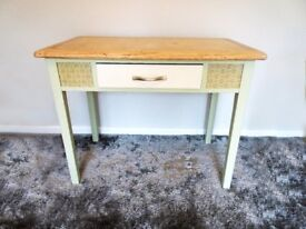 Green vintage country style table- wood top- side table, desk, kitchen work table