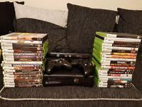 Xbox 360 with kinect and 2 controllers with 39 games
