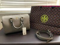 Tory Burch Robinson Leather Satchel in French Grey (100% Genuine)