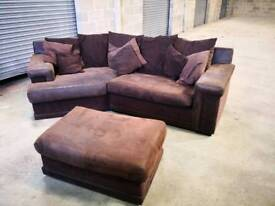 Large brown corner sofa with footstall