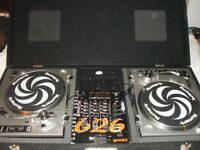 Numark TT-1520 record decks + mixer and carry case.