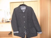 ladies navy and pale blue reversable quilted jacket size 18