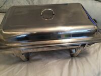 stainless steel Chafing dish used once with 4 dishes / 6 burners etc. Ideal Xmas Dinner