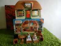 Sylvanian Rare Tomy Meadowcroft Cottage Boxed original figures & accessories postage add £6