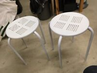 Two small white metal stools seats chairs (for kitchen or workshop)