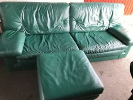 Leather 3 seater and footstool