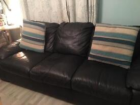 2x 3 seater leather sofas