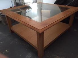Oak Veneer glass coffee table