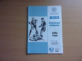 PONTEFRACT COLLIERIES VS. SELBY TOWN. 1996 NORTHERN COUNTIES EAST FOOTBALL LEAGUE PROGRAMME.