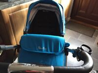 Silvercross blue pram/buggy/ car seat also comes with isofix base unit and car seat rain cover