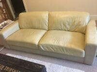 3 Seater Modern Leather Settee / Sofa Cream