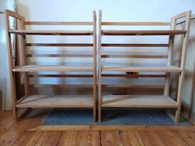 2 x Vintage Folding Shelves