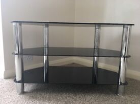 Black glass and chrome TV stand