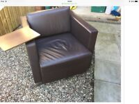 Brown Leather Box Desk Chair