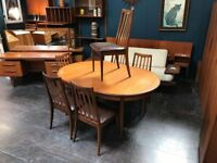 Large Extending Dining Table & 6 Chairs by G Plan. Retro Vintage Mid Century