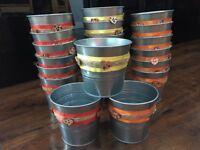 21 Hand Decorated Tin mini buckets / Wedding Table Decorations