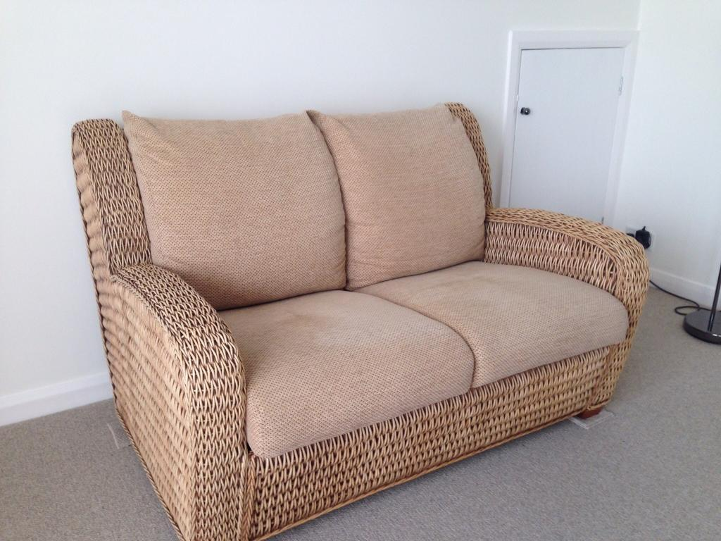 2 X Two Seater Cane Sofas And Foot Stool