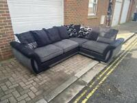 DFS corner sofa Black Grey Delivery available