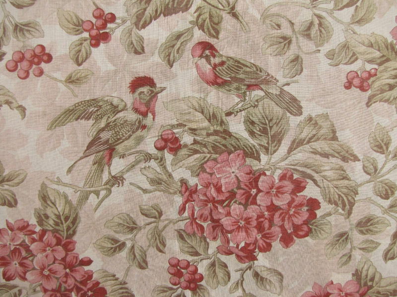 Fabric bird & floral pattern Antique French 19th century pink & green circa 1880