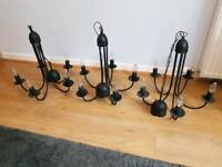 3 black chandeliers / ceiling lights - £25 each or £70 for 3