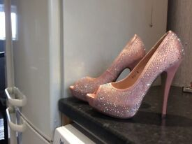 Pink diamanté heels
