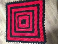 Red and black hand made blankey