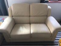 2 x 2 seater cream leather sofas