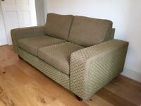 Two seater sofa and matching armchair - olive green