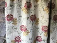 2 Pairs of Heavy Cream, Red and Gold Curtains