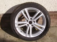 Alloy wheel and tyre for Vauxhall Insignia.