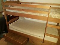 Solid pine bunk bed with drawers