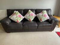 Brown leather sofas (3 seater and 2 seater)