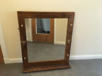 DARK STAINED WOOD MIRROR WITH SHELF AND BRASS HOOKS