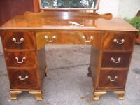 ratty style dressing table vintage mirror dresser c. 1950, chest of drawers, 2 pedestals cabinet.