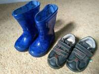 Boy's toddler schoes and Wellies