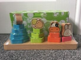 New & Sealed Wooden Animal Shape Sorter & Stacker Toy