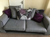 3 seater sofa (purple/grey)- collection only.