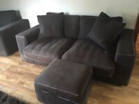 Large 3 seater sofa and cuddle chairs