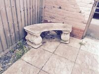concrete bench, in good condition needs a clean