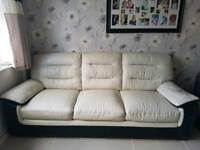 Scs leather sofa and cuddle chair