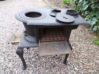 French wood burning stove with small oven