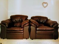 Comfy Brown Leather Armchairs (one recliner, one normal)