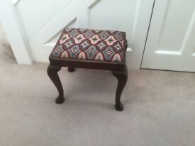 Wood stool with Bargello tapestry seat.