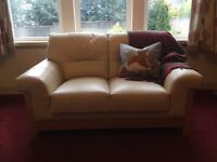 2 x 2 seater cream leather sofas. Very good condition bought from DFS