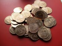 Coins - 100 uncirculated 1967 halfpennies - 50 years old! - other quantities available