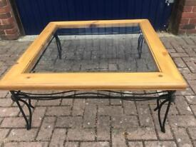 Wrought Iron, wood, glass coffee table
