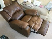 Brown leather reclining armchair