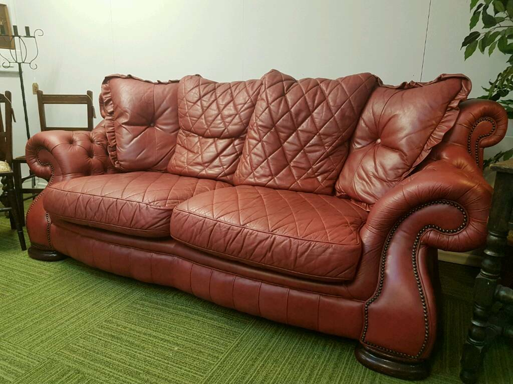 SOLD Absolutely Stunning Italian Red Leather Chesterfield Pendragon 3 Seater Sofa